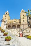 Cathedral of Cefalu in Sicily, Italy. Facade of the cathedral of Cefalu, of style called Sicilian Romanesque, in Sicily, Italy Stock Photos