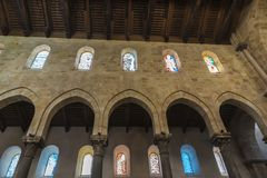 Cathedral of Cefalu in Sicily, Italy. Interior of the cathedral of Cefalu, of style called Sicilian Romanesque, in Sicily, Italy Royalty Free Stock Photography