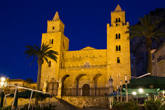 Cathedral of Cefalu during twilight Stock Photography
