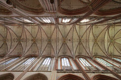 Cathedral ceiling. Ceiling of Lubek catholic cathedral, July 2015 Stock Photography
