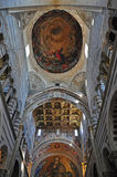 Cathedral Ceiling at Pisa. The richly decorated interior of the Cathedral at Pisa. Painting, Gold Leaf and mosaic are used to embellish the marble interior Stock Images