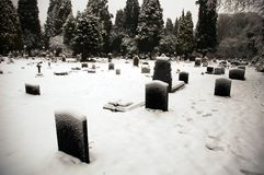 Cathedral cemetry. Cardiff cathedral cemetry covered by snow, horizontally framed shot royalty free stock images
