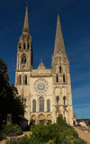 The Cathedral of Chartres - front view, France Stock Images