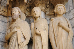Cathedral of Chartres, statues on the porch Royalty Free Stock Images