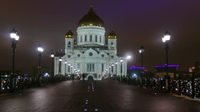 Cathedral of Christ the night in Moscow stock video
