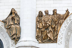 Cathedral of Christ the Savior. Bas-relief. Royalty Free Stock Photos