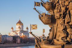 Cathedral of Christ the Savior, in the foreground monument to Pe Royalty Free Stock Photo