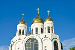 Cathedral of Christ the Savior. Kaliningrad (until 1946 Koenigsberg), Russia. Cathedral of Christ the Savior on the Victory square - the main Orthodox temple of stock images