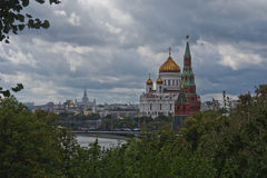 The Cathedral of Christ the Savior and the Kremlin Stock Images