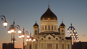 The Cathedral of Christ the Savior in Moscow. Against the sky at sunset stock footage
