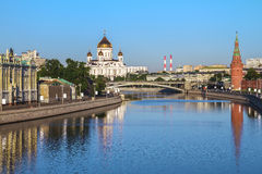Cathedral of Christ the Savior in Moscow, Russia. View of the Cathedral of Christ the Savior in Moscow from the Great Stone Bridge stock image