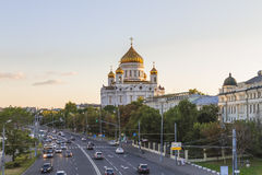 Cathedral of Christ the Savior in Moscow, Russia. View of the Cathedral of Christ the Savior in Moscow from the Great Stone Bridge stock photo