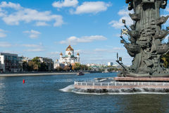 Cathedral of Christ the Savior and naval monument to Peter the Great Stock Photography