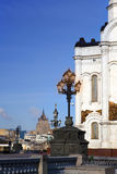 Cathedral of Christ the Savior and nice lanterns, Moscow, Russia Stock Images