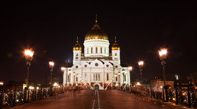 Cathedral of Christ the Savior at night Royalty Free Stock Image