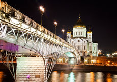 Cathedral of Christ the Savior at night Royalty Free Stock Photos