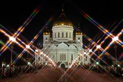 The Cathedral of Christ the Savior night Moscow Russia. Rear view from the bridge. Star filter. Landscape orientation Stock Images