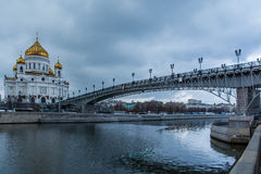 The Cathedral of Christ the Savior. And Patriarch bridge Royalty Free Stock Photography