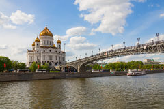 Cathedral of Christ Savior and Patriarchal bridge in Moscow Stock Image