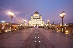 Cathedral of Christ the Savior from the Patriarchal bridge Stock Photo