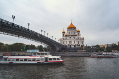 Cathedral of Christ the Savior with Patriarshiy Bridge in Moscow Stock Images