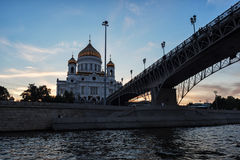 Cathedral of Christ the Savior and Patriarshiy Bridge at sunset. Stock Photography