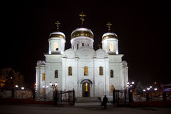 Cathedral of Christ the Savior. Pyatigorsk. Night stock photo