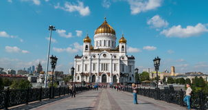 Cathedral of Christ the Savior in Russia. MOSCOW, RUSSIA - SEPTEMBER 15, 2015: Promenade area in front of Cathedral of Christ the Savior. Unidentified people stock video