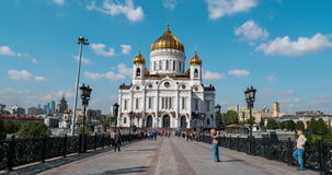 Cathedral of Christ the Savior in Russia. MOSCOW, RUSSIA - SEPTEMBER 15, 2015: Promenade area in front of Cathedral of Christ the Savior. Unidentified people stock video footage