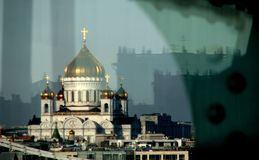 A wonderful view of Christ the Savior over the River Moskva. The Cathedral of Christ the Savior is a Russian Orthodox cathedral in Moscow, Russia, on the Royalty Free Stock Photo
