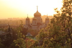 Cathedral of Christ the Savior at sunset in backlight. Pyatigorsk Royalty Free Stock Image