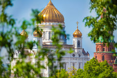 Cathedral of Christ the Savior with trees leaves Royalty Free Stock Photo