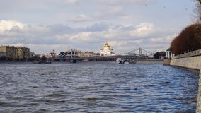 The Cathedral Of Christ The Savior view from Moscow river, timelapse stock video