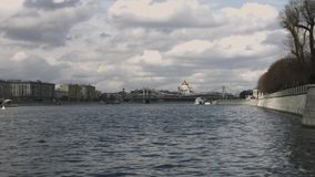 The Cathedral Of Christ The Savior view from Moscow river, timelapse stock footage