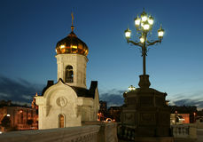 Cathedral of Christ the Saviour. It is photographed at night in Russia Stock Images