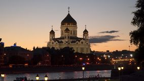 Cathedral of Christ the Saviour on the bank of the Moscow River. Night time stock footage