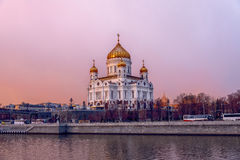 Cathedral of Christ the Saviour. City landscape in Moskow, Russia Royalty Free Stock Photo