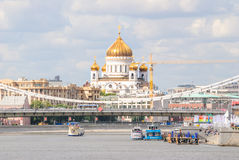 The Cathedral of Christ the Saviour, the Crimean bridge and waterfront from pier Gorky Park Stock Images