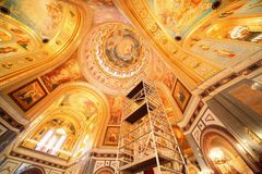 Cathedral of Christ the Saviour. fresco on ceiling Royalty Free Stock Photo