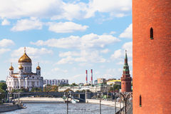 Cathedral of Christ the Saviour and Kremlin Towers Royalty Free Stock Photo