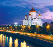 Cathedral of Christ the Saviour, Moscow. Night view royalty free stock photos