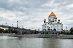 Cathedral of Christ the Saviour in Moscow, Russia. View to the Cathedral of Christ the Saviour under heavy clouds over river Moscow, Russian Federation Royalty Free Stock Photos