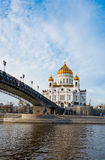 Cathedral of Christ the Saviour near Moskva river Stock Images