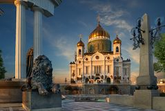 Cathedral of Christ the Saviour near Moskva river, Moscow. Russi Royalty Free Stock Images