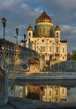 Cathedral of Christ the Saviour near Moskva river, Moscow. Russi Stock Images