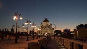 Cathedral of Christ the Saviour . Night time stock footage