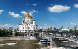 The Cathedral of Christ the Saviour and Patriarshy bridge in Mos Stock Images