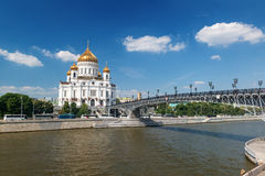 The Cathedral of Christ the Saviour and Patriarshy bridge in Mos Stock Photos
