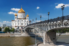 The Cathedral of Christ the Saviour and Patriarshy bridge in Mos Royalty Free Stock Photos