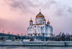 Cathedral of Christ the Saviour. Patriarshy Bridge in Moscow Russia Royalty Free Stock Images